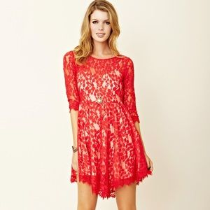 Free People  Red Lace 3/4 Sleeve Mesh Dress Size 0